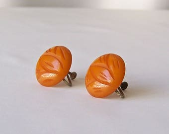 Vintage Butterscotch Bakelite Earrings Screw Back Collectible Jewelry 1920s Free Shipping US