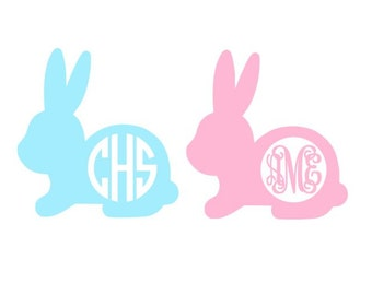 Easter Bunny Monogram cut file for cutting machines - SVG DXF EPS ps studio3 studio (monogram font sold separately)