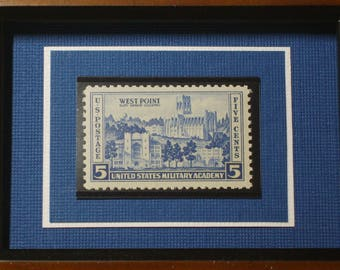 US Military Academy - Vintage Framed West Point Postage Stamp - No. 789