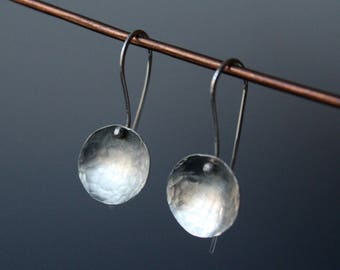 Sterling silver handmade cup disc circle hammered earrings