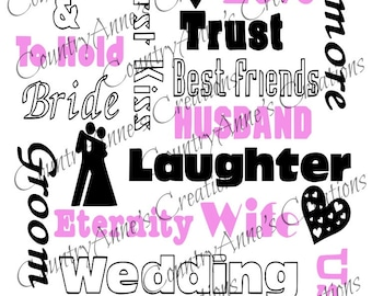 SVG PNG DXF Eps Ai Wpc Cut file for Silhouette, Cricut, Pazzles  - Wedding Subway Art svg