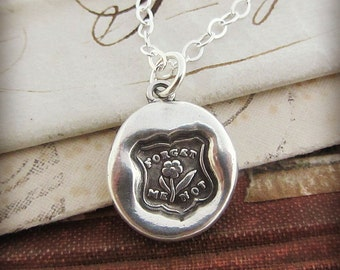 Forget Me Not Wax Seal Necklace - Remembrance Necklace - Keepsake Necklace - Remember Me Always - E2415