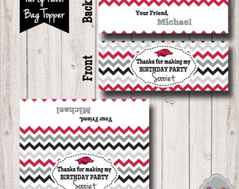 Personalized Razorback Treat Bag Toppers - Printable - BT014