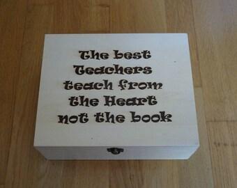 Engraved wooden box for teachers