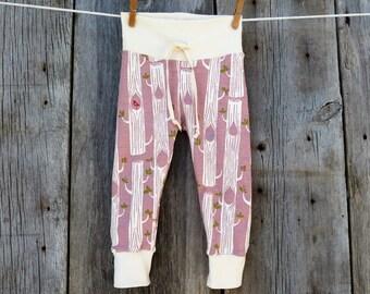 Organic baby clothes, organic baby leggings, woodland baby, drawcord leggings, baby girl gift, organic girl leggings, organic girls clothes