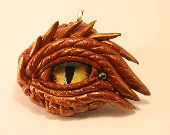 Dragon Eye Fantasy Age Red Sculpture or Necklace