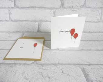Love you Balloon Hand drawn One of a kind Blank card Hand cut Matching envelope Minimalist Modern Love you card Gift idea