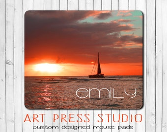 Sunset Mouse Pad, Personalized Sunset Mouse Pad, Ocean Mouse Pad, Sailboat Mouse Pad