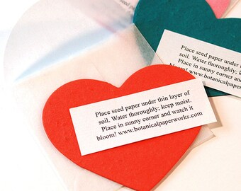 """25 Seed Paper Heart Note Plantable Wedding Favors - Showers - Giveaways - Valentines - Your Color Choice - 2.75 x 2.75"""" - Plantable Heart"""