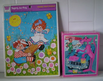 Set Of Two Vintage PINK PANTHER And Raggedy Ann And Andy Jigsaw Puzzles