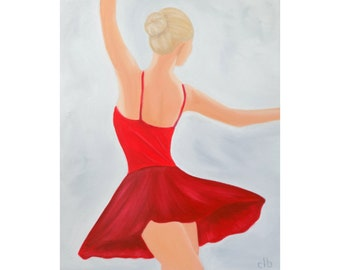 Ballerina Painting, 16 x 20, Oil Painting, Original Art, Ballet Painting, Red Dress Painting, Dance Painting, Woman Painting, Girl Painting