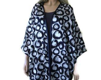 Navy blue, White,Satin chiffon Kimono with wide sleeves-Darkest Navy, white-oversize-plus size kimono