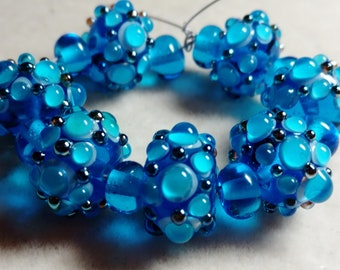 Glass Lampwork beads, 17mm x 10mm, Green Blue, 7 beads, made in USA