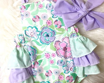 Baby Girl Romper, purple and green floral romper and head wrap set, floral outfit, girls Easter outfit, green and purple