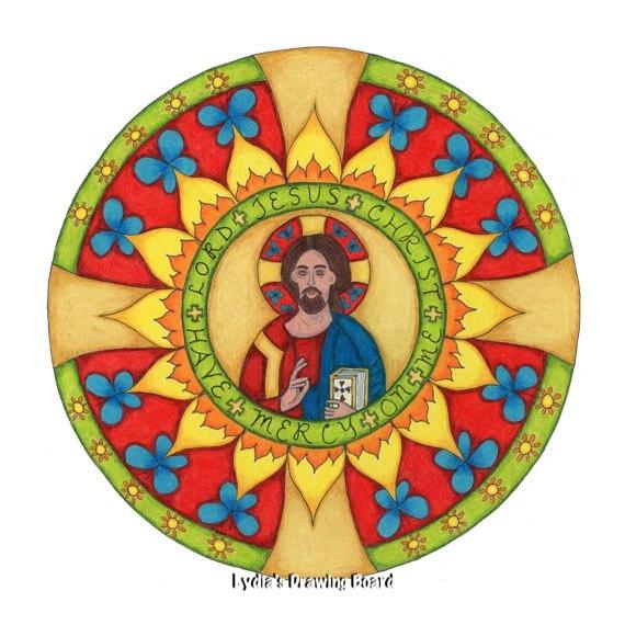 Mandala, Mandala Print, Mandala Wall Art, Religious Art, Spiritual Art, Jesus, Christian Wall Art, Christian Art Prints,  Orthodox Icon