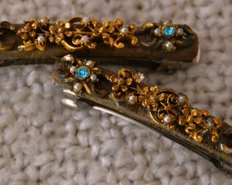 BARRETTES,  2 Lovely, DESIGNED &  HANDMADE, Pieces made from a vintage Bracelet. goldtone flowers ,seed pearls,turq. rhinestone