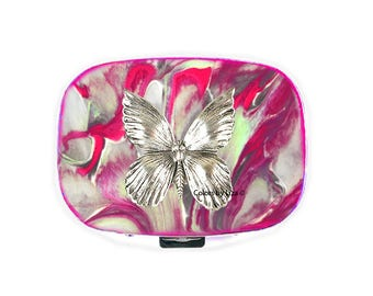 Butterfly Oval Metal Pill Box with Mirror Hand Painted Glossy Enamel Fuchsia Quartz Inspired with Personalized and Color Option