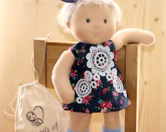 First Moters day Rag Doll weighted Fabric Soft Doll Toddler Toy Waldorf Doll with jeans dress cuddle Waldorf doll Nature Toy Steiner Doll