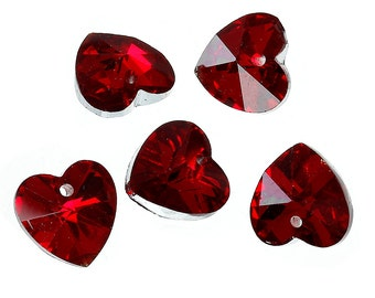 Red Heart - Faceted Glass Charm - Set of 6 - #HK1481