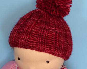 Knit Hat for 16-inch Waldorf Doll  **Ravelry Red**
