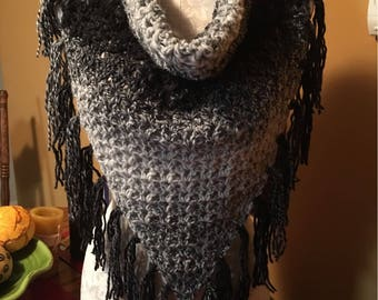 SALE!!! V-Stitch Triangle Cowl with button Enclosure in black grey and white made in very soft yarn.