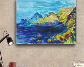 Ischia, ІItaly. Seascape Landscape Acrylic Paintings on Canvas Waves Rocks Ocean Sea Original hand painted