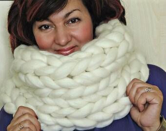 Merino Infinity Scarf, Chunky Scarf, Oversized Scarf, Chunky scarf, Knitted Scarf, Knit Scarf, Infinity Scarf, Wool Scarf
