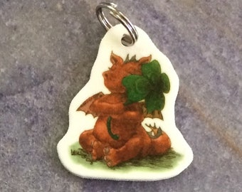 Dragon and Clover art charm for backpack, phone, necklace, keychain, zipper....