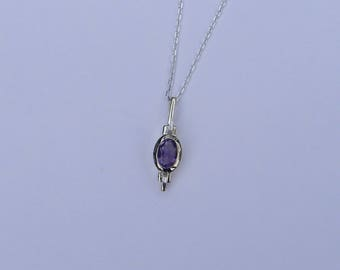 Amethyst Pendant Sterling Silver Necklace, gift for her, bridesmaid gift, February birthstone.