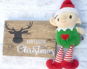 christmas countdown sign, chalkboard countdwon, wooden sleeps until christmas, days until christmas, christmas decor, rustic christmas sign