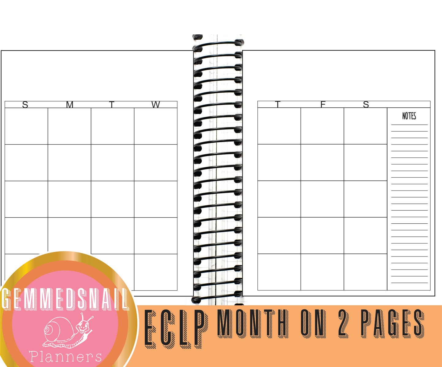 Erin Condren monthly spread Printable Month on 2 pages Erin