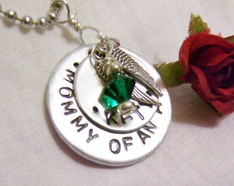 Mommy of an Angel, hand stamped memorial necklace, with childs name and birthstone, memorial jewelry