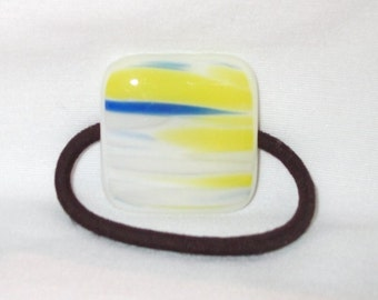 Ponytail Holder, Blue, Yellow and White Streaky Fused Glass, Handmade Hair Accessories, Women's Accessories, Square Flat Glass Hair Tie