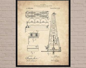 Blueprint art etsy oil rig poster industrial art texas art oil derrick oil worker malvernweather Choice Image