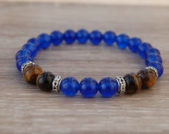 Blue Agate Bracelet,Agate and Tiger Eye Gemstone 8mm Beads,Agate Bracelet,Boho,Yoga Bracelet,Men,Woman,Protection,Meditation,Gift