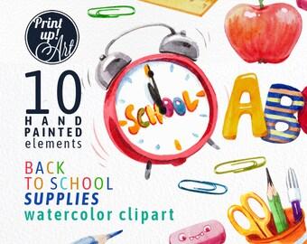 SCHOOL clipart, school supplies clipart,back to school clipart,stock illustration,school supplies,books, pen,alarm clock