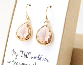 Peach Champagne / Gold Teardrop Earrings - Peach Champagne Earrings - Peach Bridesmaid Earrings - Bridesmaid Gift Jewelry - EB1