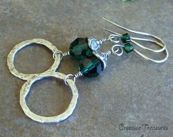 Sterling Silver Earrings Emerald Green Swarovski Crystal Fine Silver Hoop Earrings On Sale