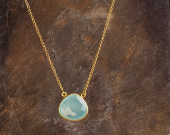 Aquamarine Blue Chalcedony Gemstone Heartshape Pendant