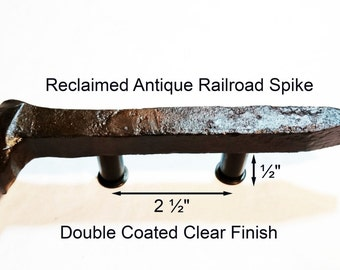 "2 1/2"" Left Sealed Railroad Spike Cupboard Handle Dresser Drawer Pull Cabinet Knob Antique Vintage Old Rustic Re-purposed House Restoration"