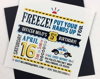 Police Birthday Invitation - Printable Police Invitation - Police Party Invitation - Policeman Birthday Invitation - Printable Police Invite