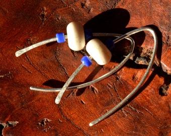 White Stone Beaded Long Earrings  - Threader Earrings - Sterling Silver Threader Earrings - Made in Vermont