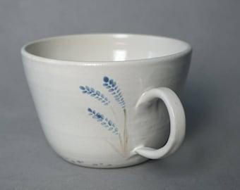 Handpainted lavender mugs -- Handmade stoneware ceramics