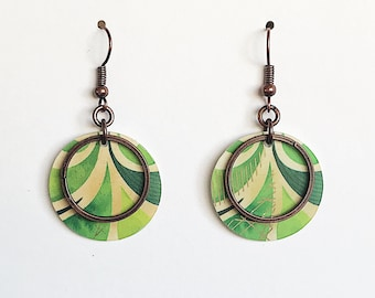 Upcycled Gift Card Earrings - Leaves & Copper Hoops