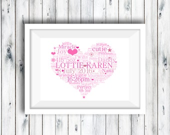 Personalised Heart Word Art, Word Art Print, Personalised Print, Nursery Print, Baby Gift, Naming Day Print, Baby Keepsake, Communion Gift