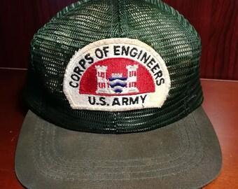 Vintage Corps of Engineers US Army snapback trucker hat