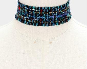 Blue Wool Choker