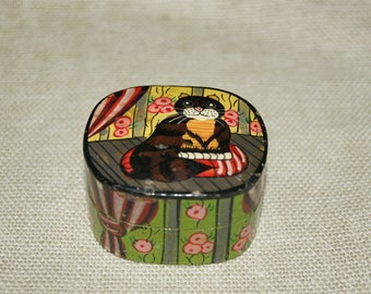 Hand-painted vintage papier mache cat trinket box.