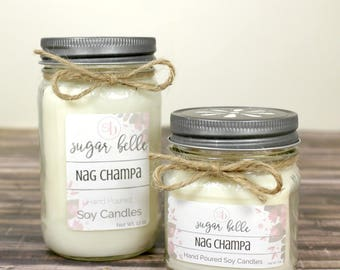 Nag Champa Candle - Soy Candles Handmade - Natural Soy Wax Candle - Scented Candles - Earthy Candle - Hand Poured Mason Jar Candles - Gift