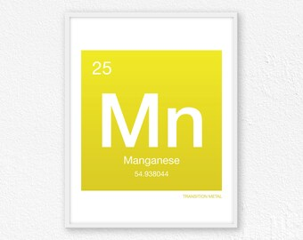 25 Manganese, Periodic Table Element | Periodic Table of Elements, Science Wall Art, Science Poster, Science Print, Science Gift
